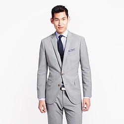 Ludlow suit jacket with double vent in light grey Italian worsted wool