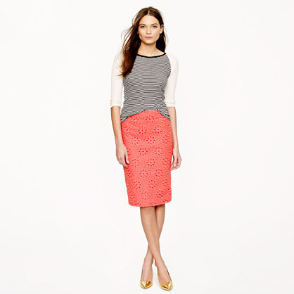 No. 2 pencil skirt in pinwheel eyelet