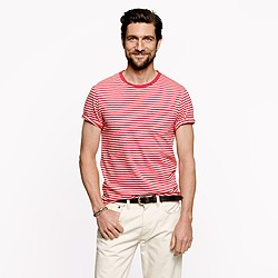 Broken-in pocket tee in pale barn stripe