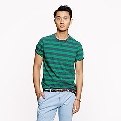 Slub cotton tee in Dublin green stripe