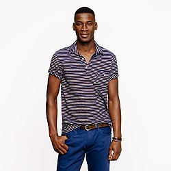 Slub jersey polo in navy stripe