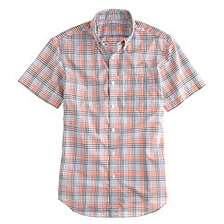 Lightweight short-sleeve shirt in orange check
