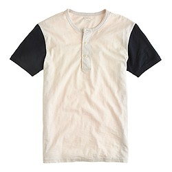 Short-sleeve baseball henley