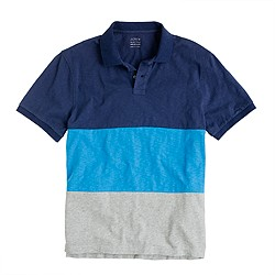 Colorblock slub cotton polo