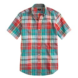 Short-sleeve shirt in neon azalea plaid