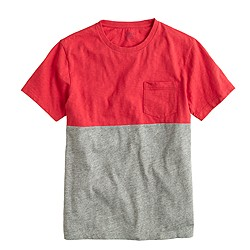 Slub cotton pocket tee in colorblock