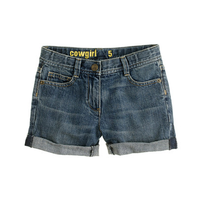 Girls' cowgirl roll-up jean short