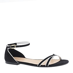 Elsa piped suede sandals