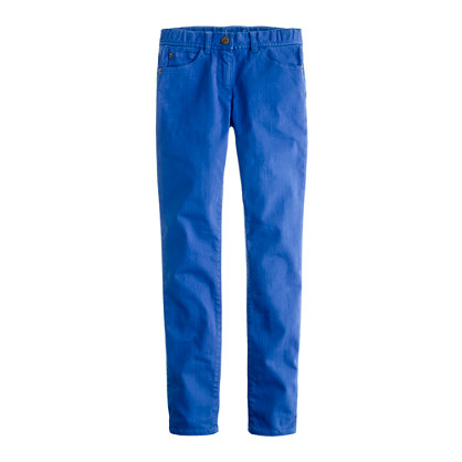Girls' toothpick jean in garment-dyed twill