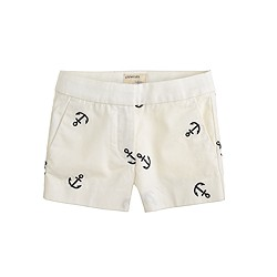 Girls' Frankie short in embroidered anchor