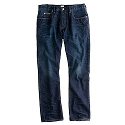 Slim-straight selvedge jean in dark worn wash