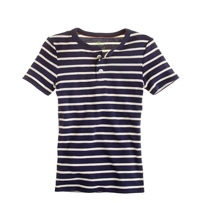 Boys' short-sleeve sleep henley in beach stripe