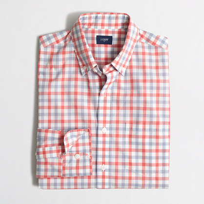 Factory lightweight button-down shirt in tattersall