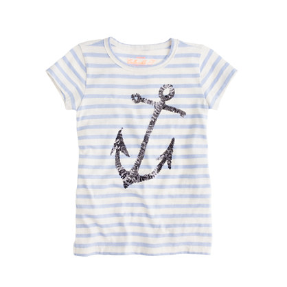 Girls' sequin anchor tee