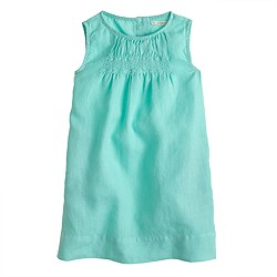 Girls' embroidered linen sheath