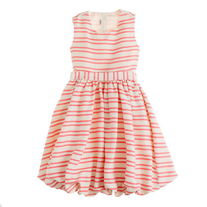 Girls' silk Gillian dress in duet stripe