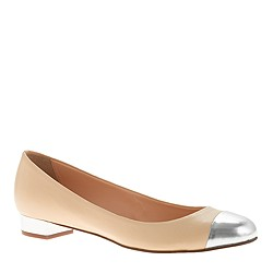 Janey metallic cap toe flats