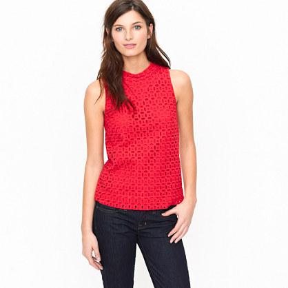 Ultra eyelet shell   sleeveless   Womens shirts & tops   J.Crew