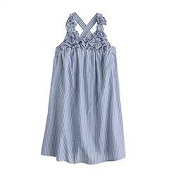 Girls' stripe ruffle-strap dress