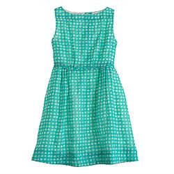 Girls' organdy grid-dot dress