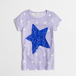Factory girls' dotted sequin star keepsake tee