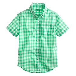 Boys' Secret Wash short-sleeve shirt in medium gingham