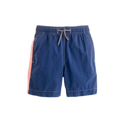 Boys' swim trunks in pieced stripe