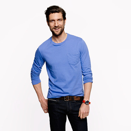 Broken-in long-sleeve pocket tee