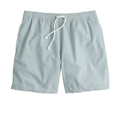 "6"" swim trunks in seersucker"