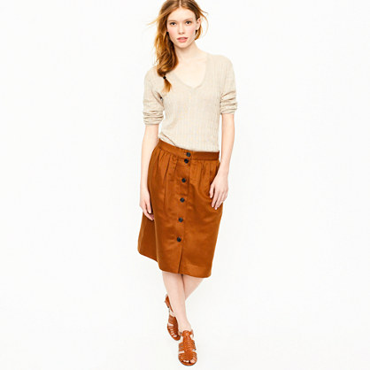 Button-front linen twill skirt