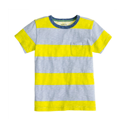 Boys' ringer pocket tee in bar stripe