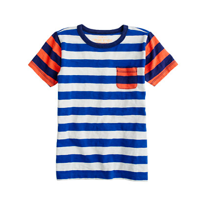 Boys' ringer pocket tee in colorblock stripe