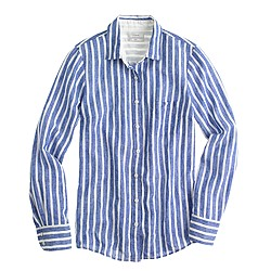Petite Boy shirt in stripe linen