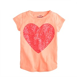 Girls' sequin heart tee