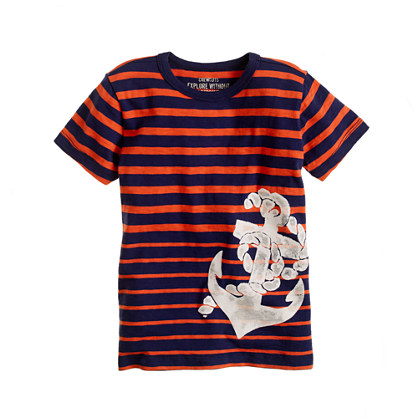 Boys' anchor stripe tee