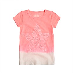 Girls' dip-dye tee with sequin star
