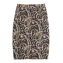 No. 2 pencil  skirt in feather paisley
