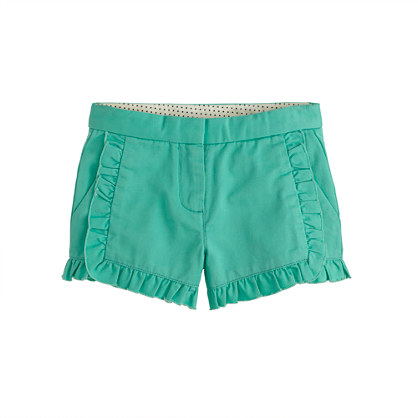 Girls' chino ruffle short