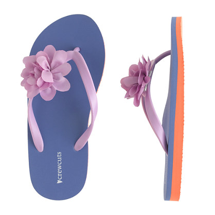 Girls' colorblock floral flip-flops