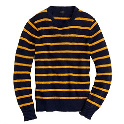 Textured slub cotton sweater in toasted honey stripe