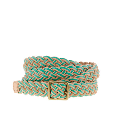 Two-tone braided skinny belt