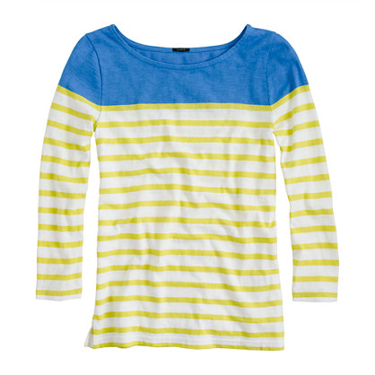 Colorblock stripe boatneck tee knits tees Women s new arrivals J Crew from jcrew.com