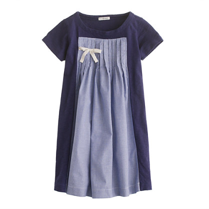 Girls' pretty pleats dress in stripe