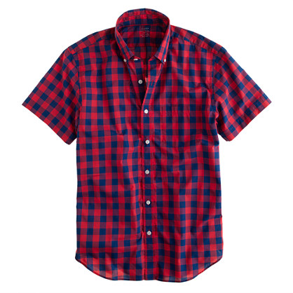 Lightweight short-sleeve shirt in overblown gingham