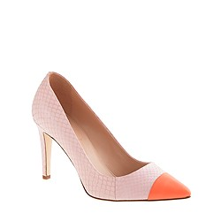 Everly cap toe snakeskin pumps