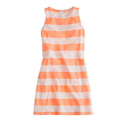 Girls' pocket dress in neon stripe