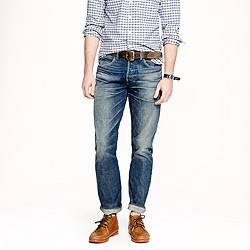 Wallace & Barnes slim selvedge jean in drydock worn wash