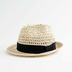 Factory open-weave ribbon fedora