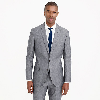 Ludlow suit jacket with double vent in Japanese chambray