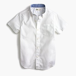 Boys' Secret Wash short-sleeve shirt in white poplin